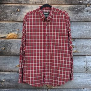 Eddie Bauer Relaxed Fit Red Plaid Button Down XL